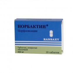 Норбактин, табл. п/о пленочной 400 мг №10