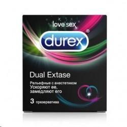 Презервативы, Дюрекс №3 Дуал экстаз (рельефные с анестетиком)