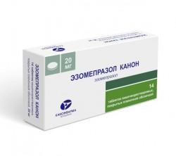 Эзомепразол Канон, табл. п/о кишечнораств. пленочной 20 мг №14
