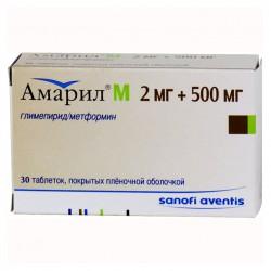 Амарил М, табл. п/о пленочной 2 мг+500 мг №30